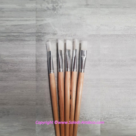 Set of 5 Flat paintbrushes in synthetic hair, width 11 mm, Size 12
