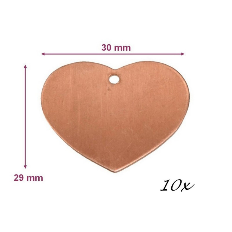 Lot of 10 Copper pendants, Heart with 1 hole, 30x29 mm, for enamelling
