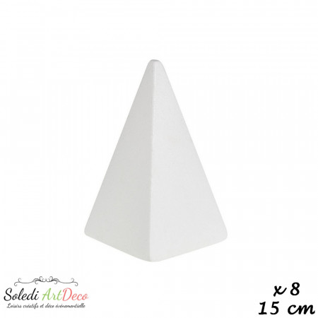 Set of 8 Polystyrene square pyramide, base 10 x 10cm, height 15 cm, high density 25 kg/m3