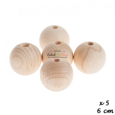 Set of 5 drilled balls made of beech wood, diameter 60 mm, hole 10 mm