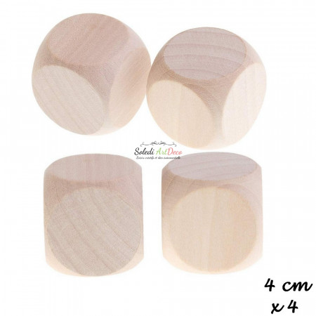 Lot de 4 Cubes en bois de hêtre, non traité, non teinté, de 40 mm, à customiser