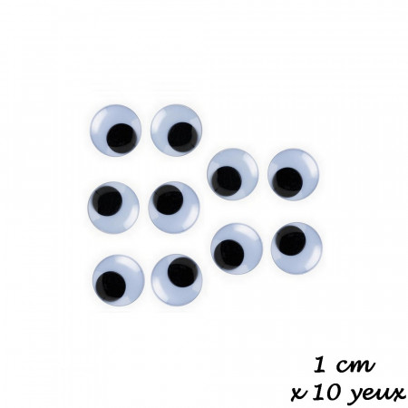 Lot de 5 paires de yeux à pupille mobile de diamètre 10 mm, à coller