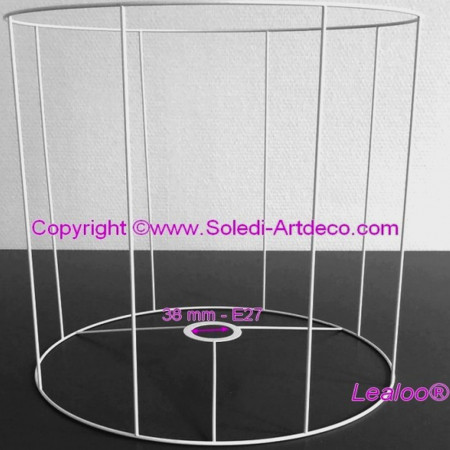 Large White Round Lampshade Frame, Height and Diam. 55 cm, diameter 38 mm Socket