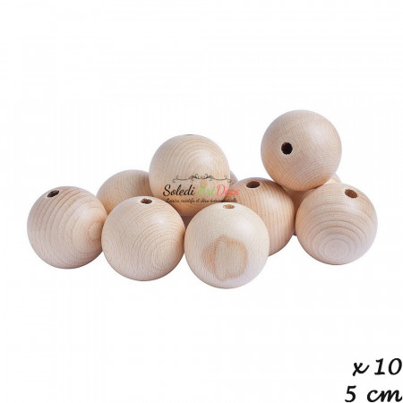 Set of 10 drilled balls made of beech wood, diameter 50 mm, hole 8 mm