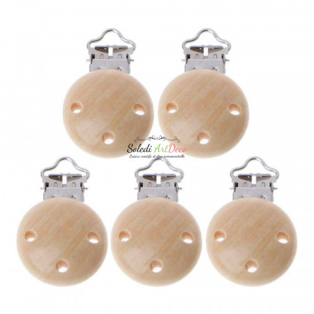 Lot of 5 Pacifier clip made of bleached beech wood, diameter 37mm x 11.5mm