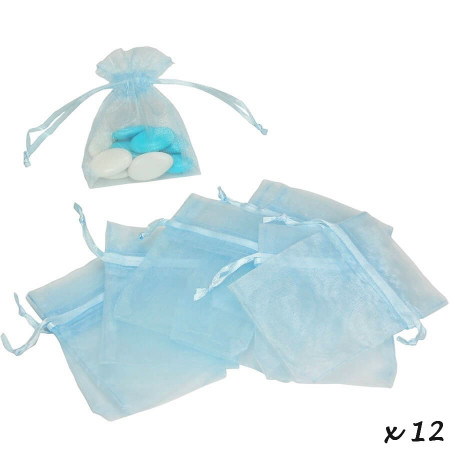 Set of 12 bags in light blue Organdi, Organza bags for sugared almonds, 7.5 cm x 10 cm
