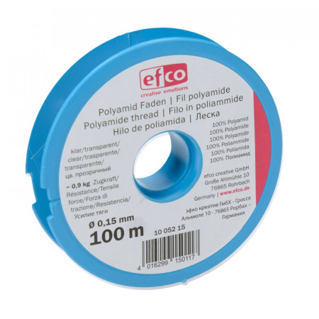 Transparent nylon thread for jewelry, diameter 0.15 mm, 100 m, resistance 0.9 kg