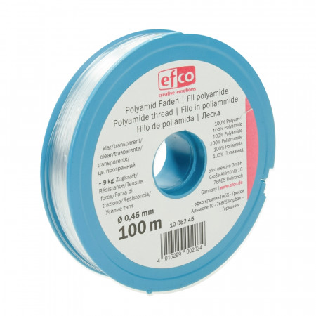 Transparent nylon thread for jewelry, diameter 0.45 mm, 100 m, resistance 9 kg