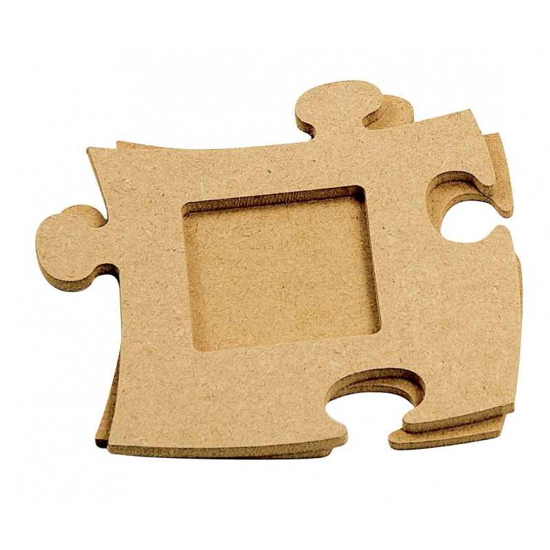Square photo frame, puzzle shape, in MDF, height 12 cm
