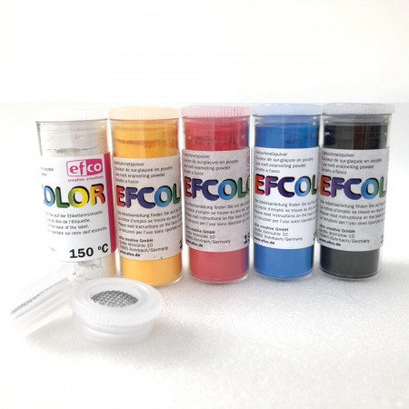 Set 5 colors, Efcolor powder, 10 ml, primary color, 2 sieves, for cold enameling, baking at 150 ° C