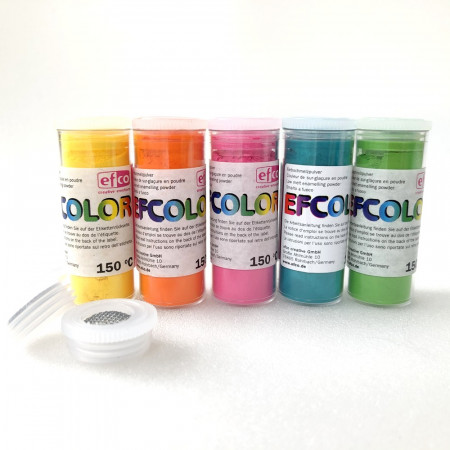 Set 5 colors, Efcolor powder, 10 ml, summer color, 2 sieves, for cold enameling, baking at 150 ° C