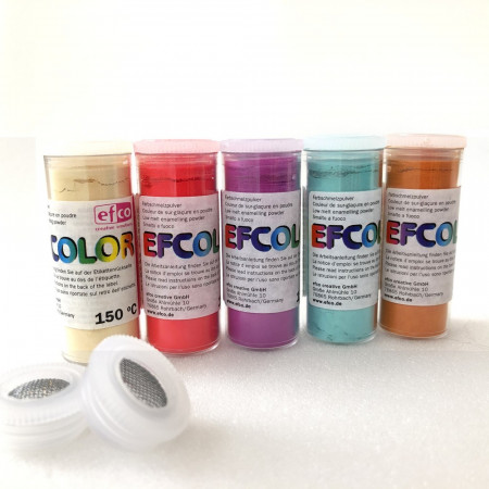 Set 5 colors, Efcolor powder, 10 ml, soft color, 2 sieves, for cold enameling, baking at 150 ° C