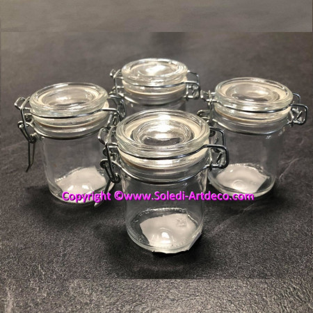 Lot of 4 Mini jars jam for canned glass, jammer 6 cm retro for dragee box