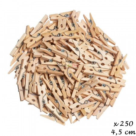 Set of 250 little wooden clothespins, untreated, 4,5 cm