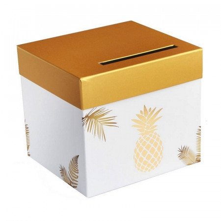 Square urn, Metallic golden pineapple, rigid white cardboard, 23 x 20.5 cm, wedding piggy bank
