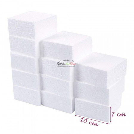 Lot of 12 small polystyrene blocks, thickness. 7 cm x 10 cm, square support to decorate