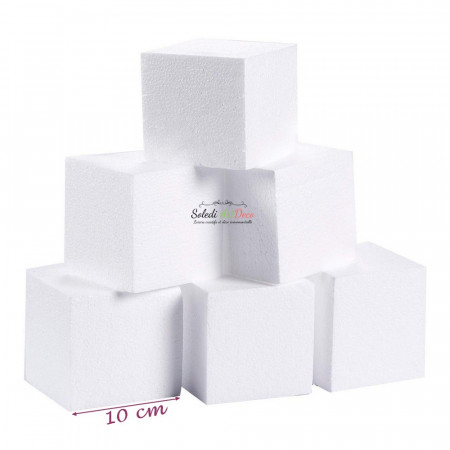 Lot of 6 small polystyrene blocks, thickness. 10 cm x 10 cm, square support to decorate