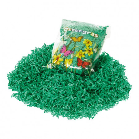 Bag  23 x 15 x 5cm of 30 g green Easter grass made of paper