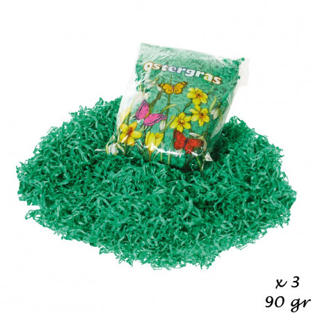 Bag  23 x 15 x 5cm of 90 g green Easter grass made of paper