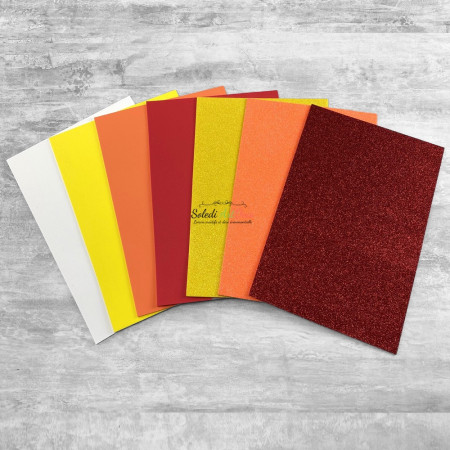 Lot 7 Feuilles caoutchouc mousse thermoformable, Nuancier chaud, 20 x 30 cm