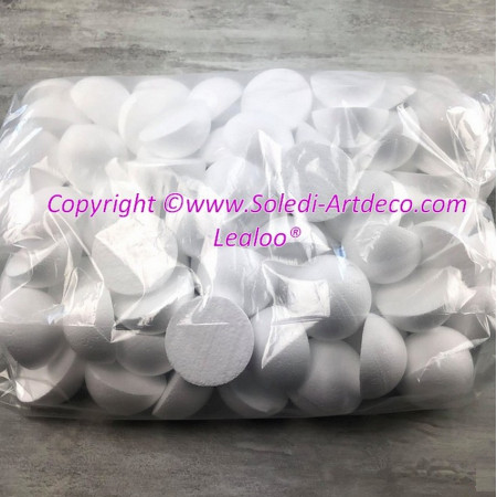 Set of 50 polystyrene half spheres, solid, diameter 6 cm / 60 mm, high density