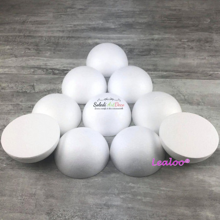 Lot of 10 half-spheres 10 cm in diameter, solid domes in polystyrene 5 cm high