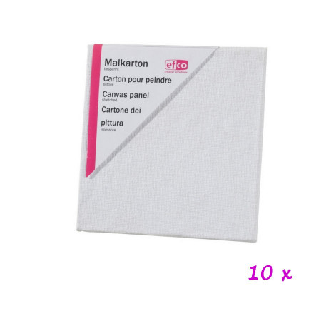 Lot of 10 square canvas panels, 10 cm x 10 cm, thickness 3 mm, 100% coated cotton