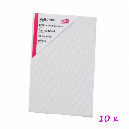 Lot of 10 canvas panels, 10 cm x 15 cm, thickness 3 mm, 100% coated cotton