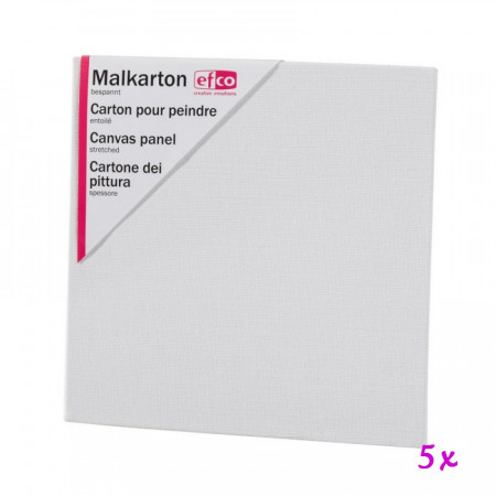 Lot of 5 square canvas panels, 20 x 20 cm, thickness 3 mm, 100% coated cotton
