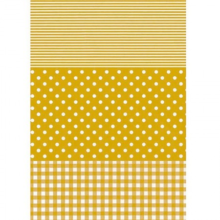 5 decopatch sheets n ° 543, Stripes, Tiles and White dots on old gold background, Paper 30x39 cm