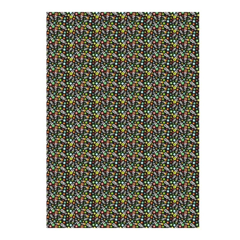 5 sheets Decopatch n ° 720, Mini multicolored flowers on a black background, Paper 30x39 cm