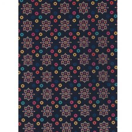 5 sheets Decopatch n ° 704, Oriental motif, Multicolored rosettes on dark blue background, Papers 30x39 cm