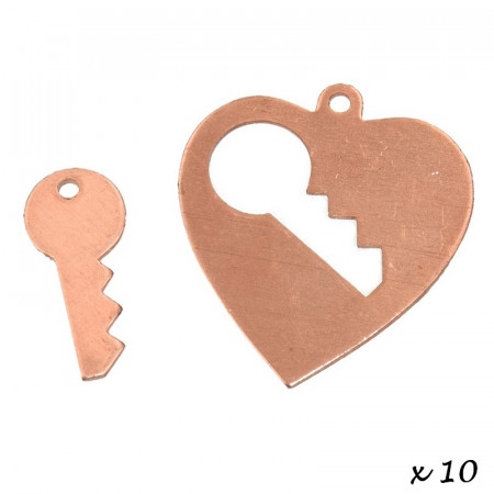 Lot of 10 copper pendants, Heart with 1 hole key, 28 × 26 mm