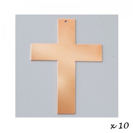 Lot of 10 Pendants, copper, Cross, 1 hole, blank 73 x 53 mm, cold enameling