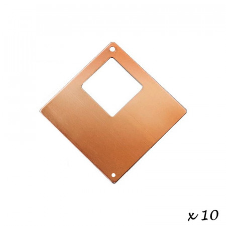 10x Copper Pendant Square, 2 hole, 4 x4 cm, for enameling