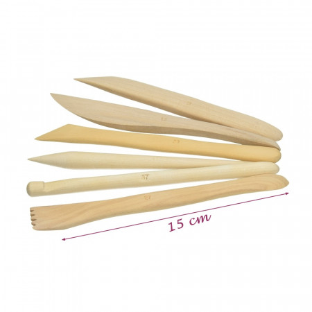 Set of 6 blanks, wooden, 15 cm, for modeling clay, terracotta