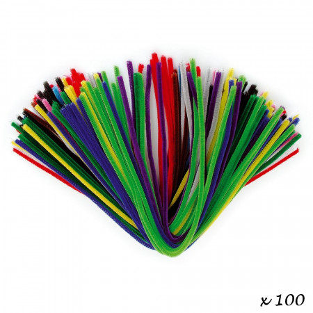 Set of 100 Chenille threads, Multicolour, Ø. 8 mm, length 50 cm, pipe cleaner