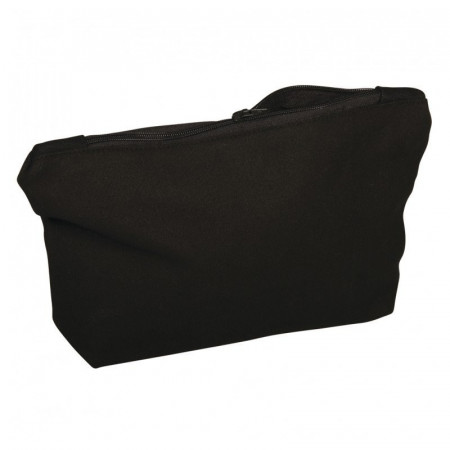 Black cotton bag, 350g / m², 21 x 15 x 5 cm, with zipper, makeup bag, to customize