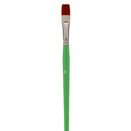 Flat school paintbrush, Size 12 - 1.6 cm, synthetic fiber bristles, for acrylic and oil