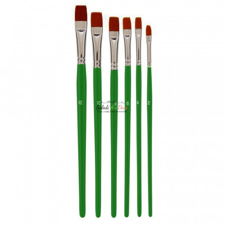 Set of 6 Flat school brushes, Size 2 to 12, synthetic fiber bristles, for acrylic and oil