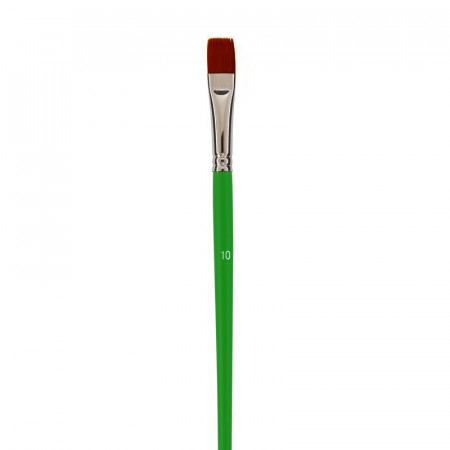 Flat school paintbrush, Size 10 - 1.6 cm, synthetic fiber bristles, for acrylic and oil
