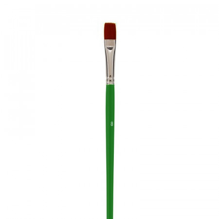 Flat school brush, Size 8- 1.4 cm, bristles in synthetic fibers, for acrylic and oil