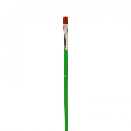 Flat school brush, Size 4 - 0.8 cm, bristles in synthetic fibers, for acrylic and oil
