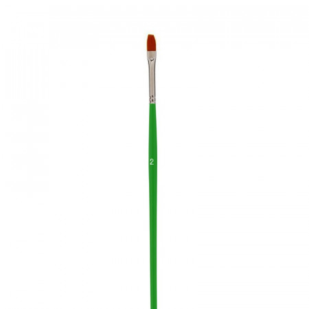 Flat school brush, Size 2 - 0.6 cm, bristles of synthetic fibers, for acrylic and oil