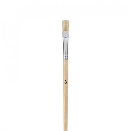 Flat brush, pig bristle, Size 8 - 1.5 cm, brush for acrylic and oil