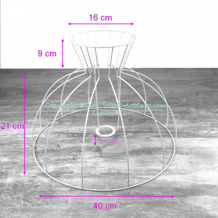 Carcass Lampshade Bell with Collar 40 cm, Dome Frame of 12 branches, in anti-corrosion epoxy, for E27