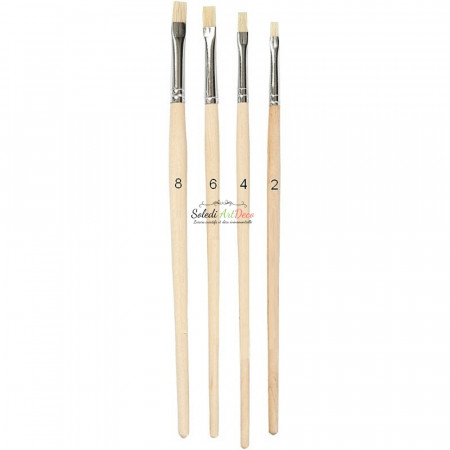 Set of 4 Artist's brushes, in pig's bristle, Size 2 to 8, natural bristles, for acrylic and oil