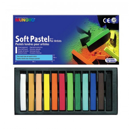 Lot of 12 soft pastels, for artists, Extra-fine pigments, 6.6 x 1 cm