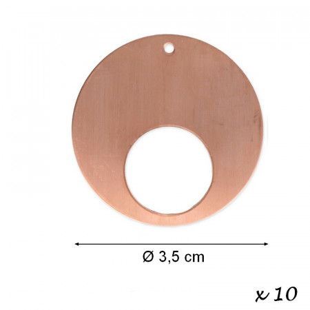 Set of 10x Copper Pendant Round, 1 hole, Ø 35 mm x 0.8mm, for enameling