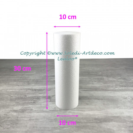 Little Polystyrene Cylinder Diameter 10cm x Height 30cm, Column in Styropor White, Pro Density, 28 kg / m3